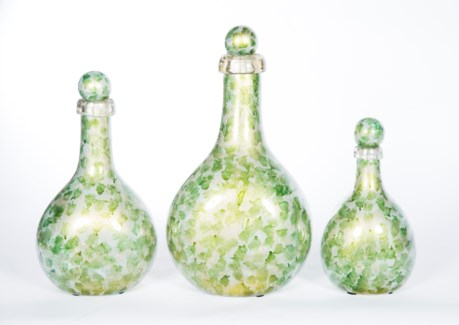 Set of 3 Flat Bottles w/ Tops in Algae Bloom
