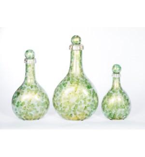Set of 3 Flat Bottles w/ Tops in Algae Bloom