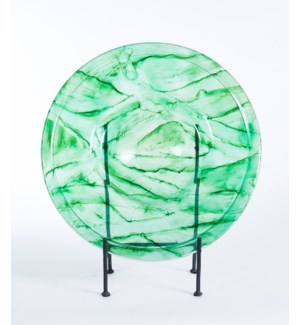 Glass Charger w/ Metal Stand in Aquatic Emerald