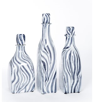 Large Glass Bottle with Stopper in Zebra