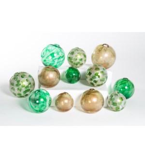 Set of 12 Spheres in Currier Gilt, Algae Bloom & Aquatic Emerald