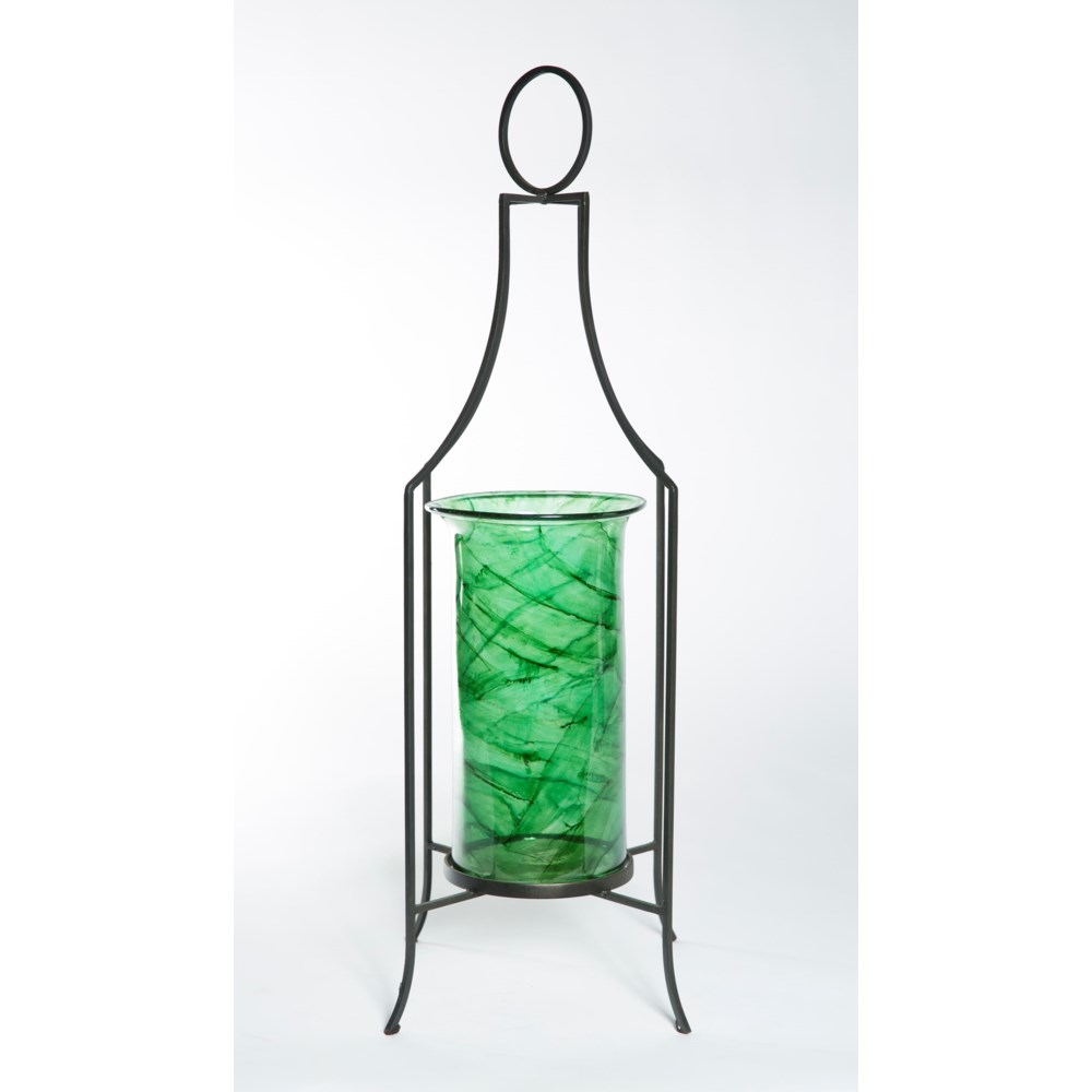Cylinder in Aquatic Emerald with Stand in Bronze