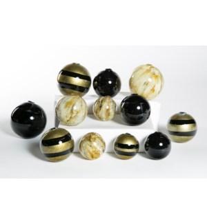 Set of 12 Spheres in Trophy, Wrinkled Linen & Black Crocodile
