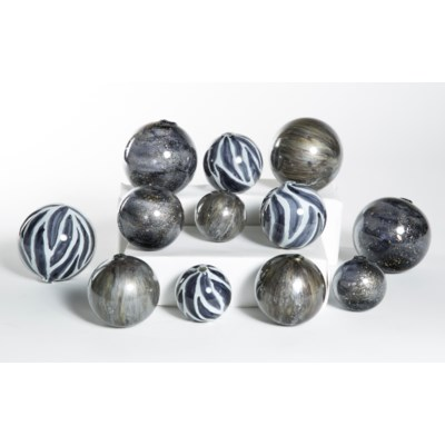 Set of 12 Spheres in Zebra, Concord & Emperor's Stone