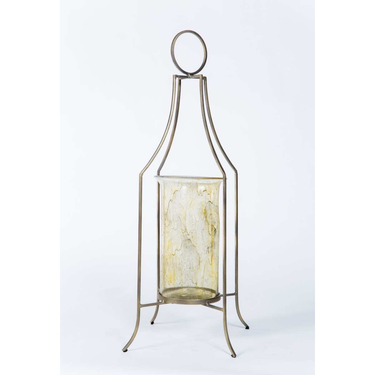Cylinder  in Currier Gilt w/ Metal Base in Antique Brass Finish