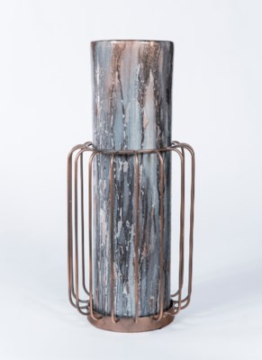 Large Cylinder in Graphite w/ Metal Base in Antique Copper Finish