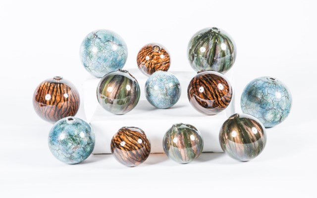 Set of 12 Spheres in Dark Clove, Deep Forest & Star Gazer Finish
