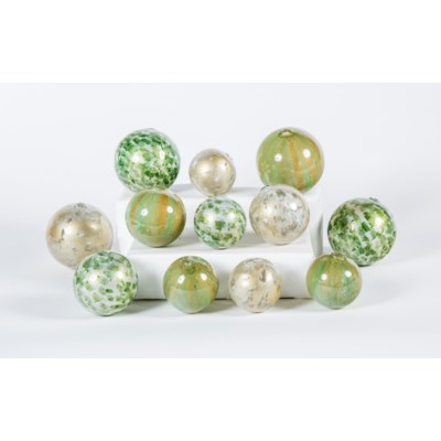 Set of 12 Spheres in Dappled Light, Algae Bloom & Palm Leaf Finish