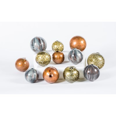 Set of 12 Spheres in Sea Pearls, Copper Blaze & Graphite Finish