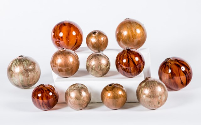 Set of 12 Spheres in Persian Veil, Molten Lava & Copper Blaze Finish