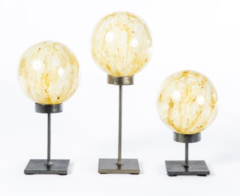 Set of 3 Glass Balls on Stands in Spiced Cocoa Finish
