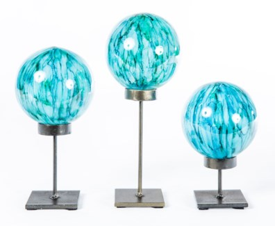 Set of 3 Glass Balls on Stands in Lake Como Finish