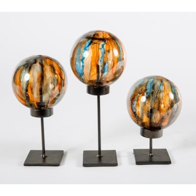 Set of 3 Glass Balls on Stands in Flagstone Finish