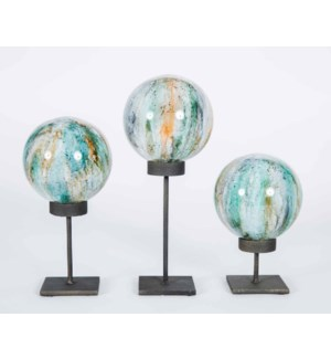 Set of 3 Glass Balls on Stands in Spice Garden Finish
