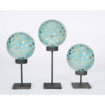 Set of 3 Glass Balls on Stands in Jubilee Finish