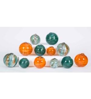 Set of 12 Spheres in Sweet Tea, Bella Vista and Spice Garden Finish