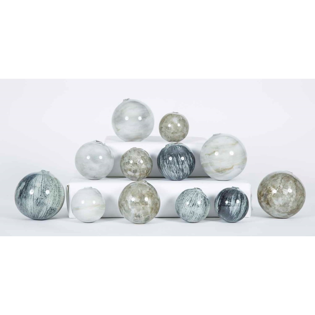 Set of 12 Spheres in Black Sand, Oyster Shell and Smoke Finish
