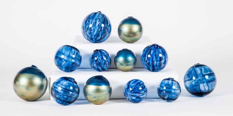 Set of 12 Spheres in Quiet Storm, Aquatic Haze and Sapphire Seas Finish