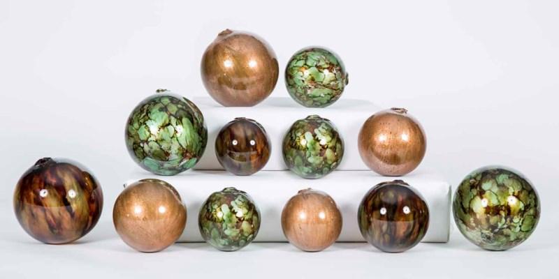 Set of 12 Spheres in Molten Lava, Copper Blaze and Dreamcatcher Finish