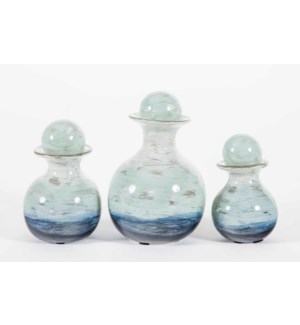 Set of 3 Bulb Bottles w/ Tops in Ocean Finish