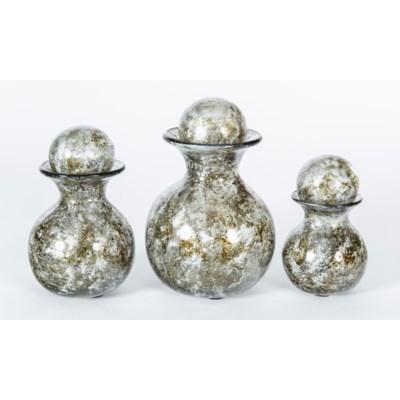 Set of 3 Bulb Bottles w/ Tops in Granite Dust Finish