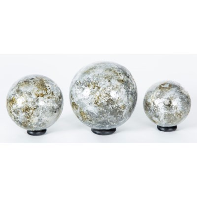 Set of 3 Glass Balls on Iron Ring Stands in Granite Dust Finish