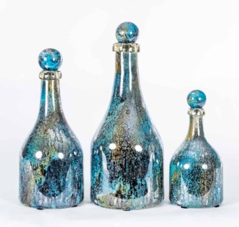 Set of 3 Bottles with Tops in Wishing Well Finish