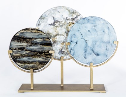 3 Glass Discs on Stands in Granite Dust, Smoky Haze, and Goldstreak Finish