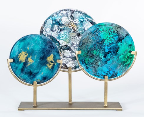 3 Glass Discs on Stands in Morning Fog, Agate and Harbor Sky Finish
