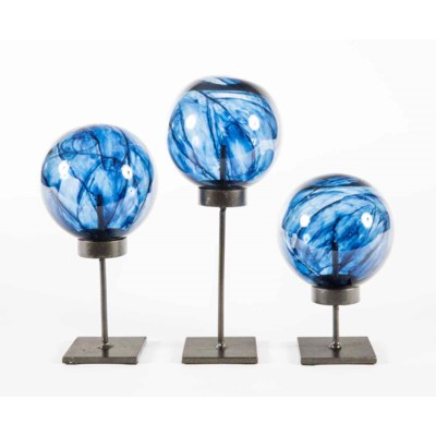 Set of 3 Glass Balls on Stands in Aquatic Haze Finish