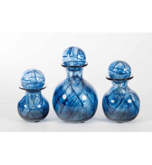 Set of 3 Bulb Bottles w/ Tops in Aquatic Haze Finish