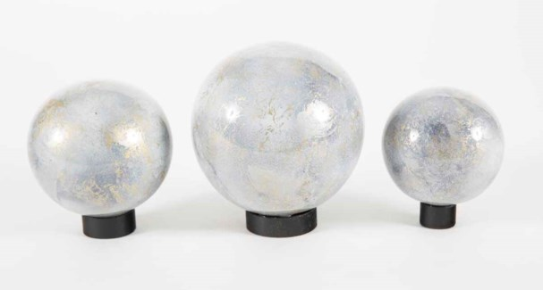 Set of 3 Glass Balls on Iron Ring Stands in Smoky Haze Finish