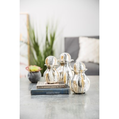Set of 3 Bulb Bottles w/ Tops in Gray Whisper