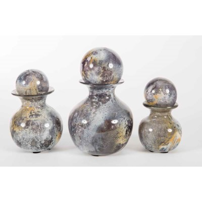 Set of 3 Bulb Bottles w/ Tops in Supernova Finish