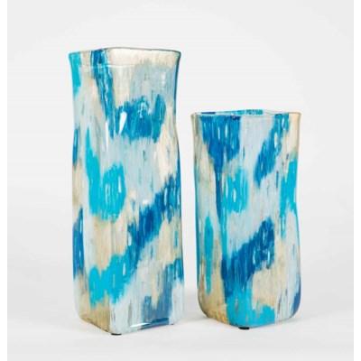 Large Square Vase in Aquacade Finish