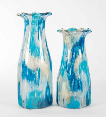 Large Ruffle Top Vase in Aquacade