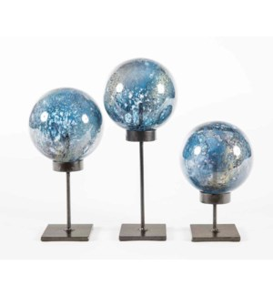Set of 3 Glass Balls on Stands in Tibetan Sky Finish