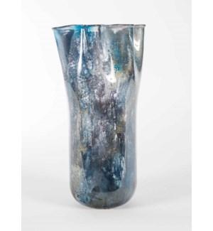 Large Ruffle Vase in Tibetan Sky Finish