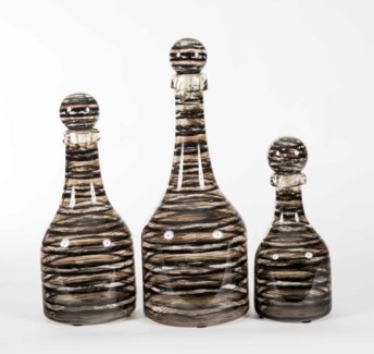 Set of 3 Bottles with Tops in Bohemian Black Finish