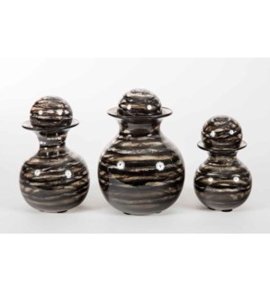 Set of 3 Bulb Bottles w/ Tops in Bohemian Black Finish