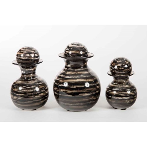 Set of 3 Bulb Bottles w/ Tops in Bohemian Black Finish
