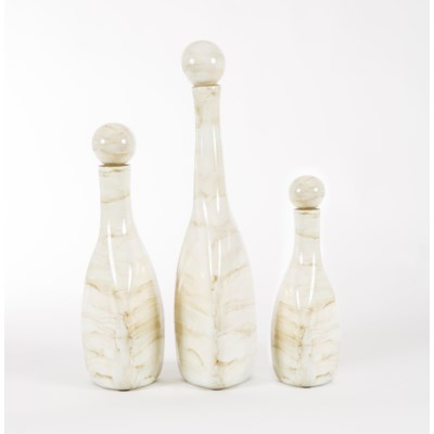 3 Triangle Bottles with Tops in Smoke Finish