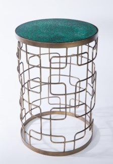 Grid Pattern Accent Table with Glass Top in Valley Crescent Finish