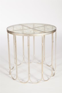 Looped Side Table in Platinum   w/ Top in Currier Gilt