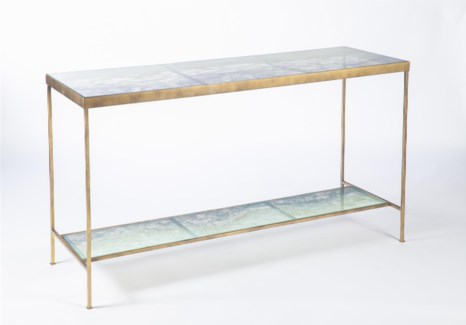 Dual Shelf Console in Antique Gold w/ Glass Shelves in Solid Amethyst