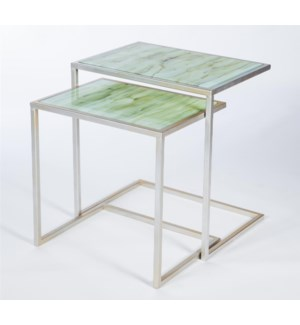 Set of 2 Nesting Tables in Platinum with Tops in Smoke Finish