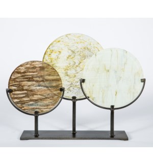 3 Glass Discs on Stands in Smoke, Currier Gilt and Sutter's Mill Finish