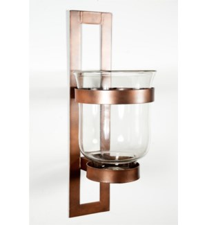 Large Clear Wall Sconce with Rust Finish Steel Base