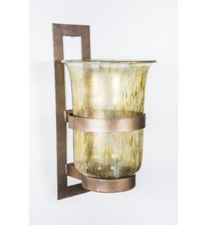 Large Wall Sconce in Currier Gilt with Steel Base in Antique Brass