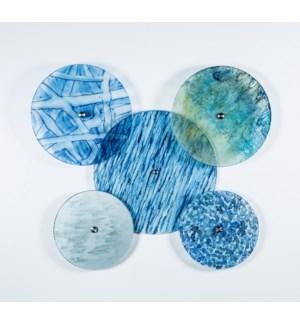 Set of 5 Wall Discs in Aquatic Haze, Cool Waters, Quiet Storm, Shimmering Dawn & Raindrops Finish